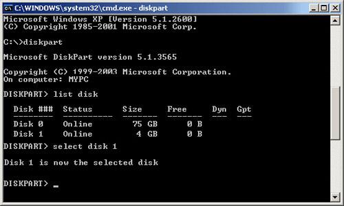 Ví dụ với USB 4 GB được chọn là Disk 1.