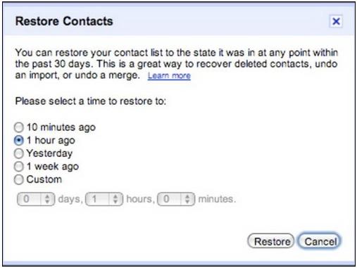 Restore contacts để khôi phục danh bạ trong Gmail